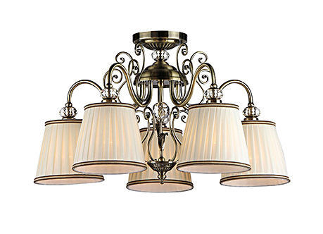 Люстра с абажурами вниз на 5 ламп (бронза)