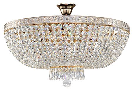 Diamant Crystal Bella 8: Припотолочная хрустальная люстра диаметром 60 см. (золото с белым)