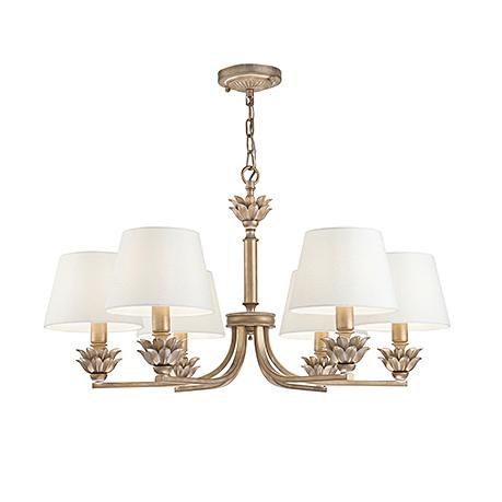 Люстра с абажурами в стиле неоклассика на 6 ламп (античное золото и белый)