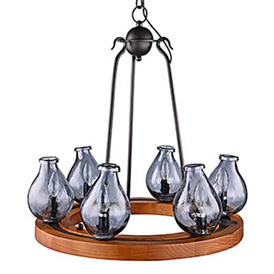 Подвесной обруч-люстра из дерева с бутылками (цвет коричневый)