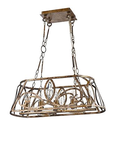 Подвесной светильник из металла в стиле ар-деко (античное золото)