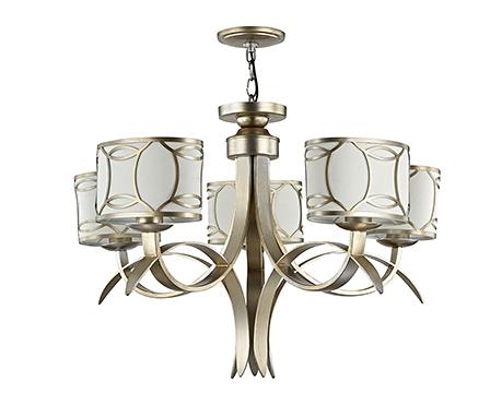 Люстра с абажурами в стиле ар-деко на 5 ламп (золото и кремовый)