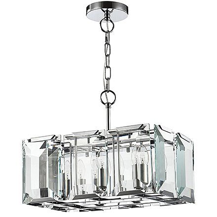 Подвесная люстра в виде прямоугольника с большими гранеными стеклами (хром)