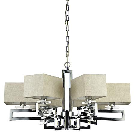 Современная люстра на 6 ламп с абажурами кубами изо льна (никель)