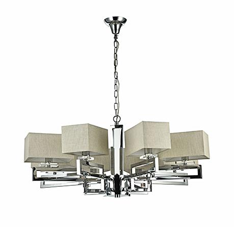 Современная люстра на 8 ламп с абажурами кубами изо льна (никель)