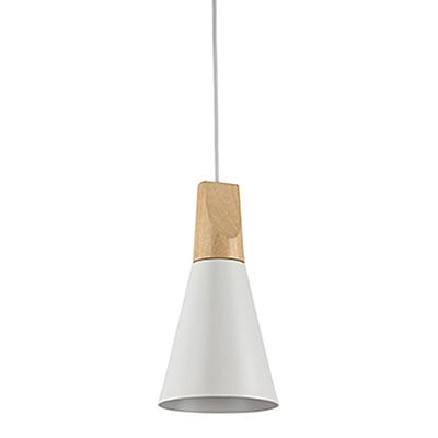 Подвесной светильник конус с деревом бук (цвет белый)