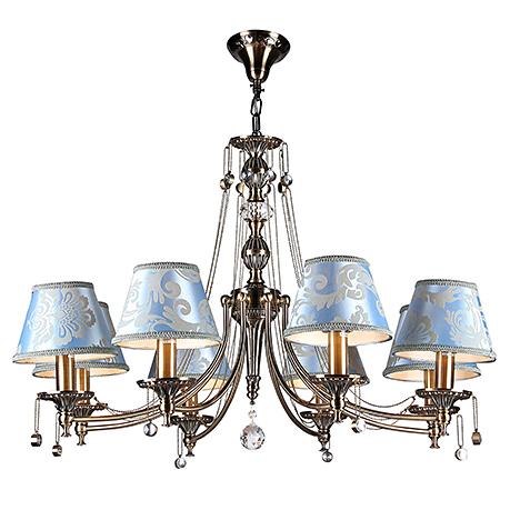 Классическая люстра с голубыми абажурами на 8 ламп (бронза)