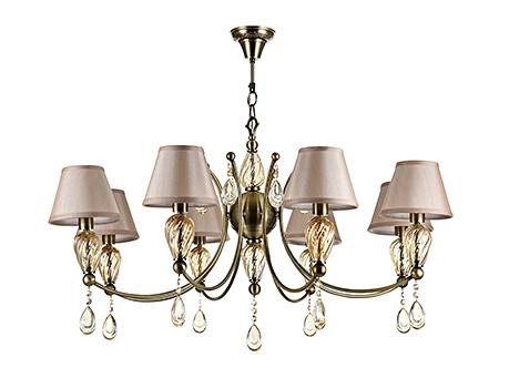 Люстра со стеклом и абажурами в стиле ар-деко на 8 ламп (бронза и бежевый)