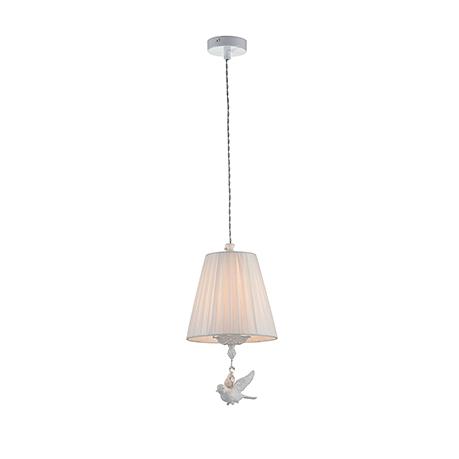 Подвесной светильник абажур с птичкой (цвет жемчужный белый)
