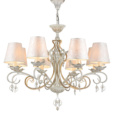 Люстра с 5-тью жемчужными абажурами в стиле шебби-шик (цвет белый с золотом)