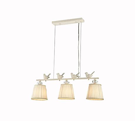 Три подвесных абажура на планке с птичками (цвет белый)