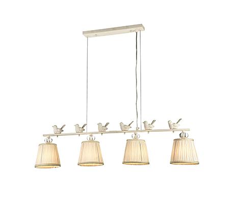 Четыре подвесных абажура на планке с птичками (цвет белый)