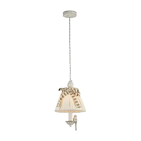 Подвесной абажур с птичкой (цвет белый антик и лен)