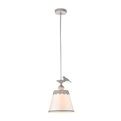 Подвесной светильник-абажур с птичкой и плетеными узорами (цвет серый)
