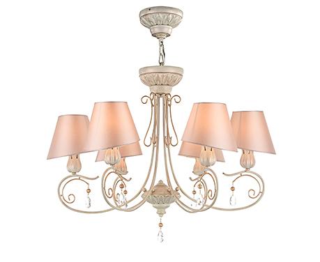 Люстра с розовыми абажурами на 6 ламп (каркас персиковое золото)