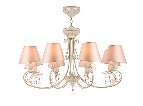 Люстра с розовыми абажурами на 8 ламп (каркас персиковое золото)