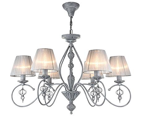 Люстра с абажурами из органзы на 6 ламп (цвет серый)