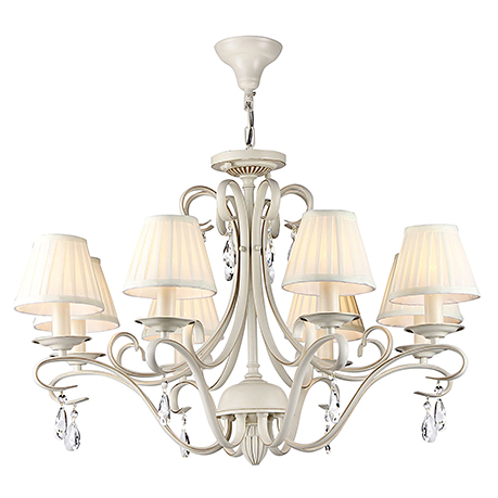 Люстра на 8 ламп с плиссированными абажурами из атласа и хрусталем (цвет бежевый)