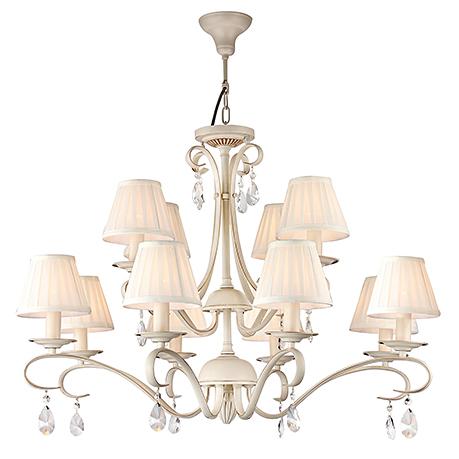 Люстра на 12 ламп с плиссированными абажурами из атласа и хрусталем (цвет бежевый)