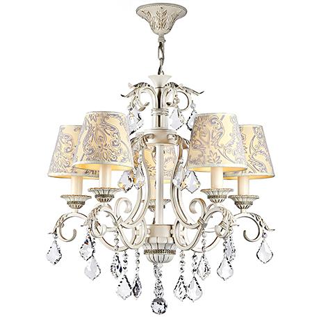 Люстра на 5 ламп с бархатными узорчатыми абажурами и хрусталем (цвет белый с золотом)