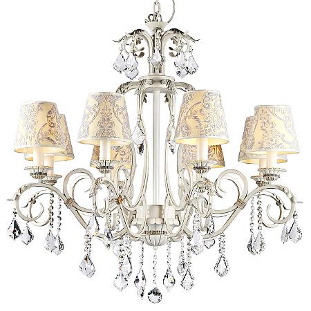 Люстра на 8 ламп с бархатными узорчатыми абажурами и хрусталем (цвет белый с золотом)