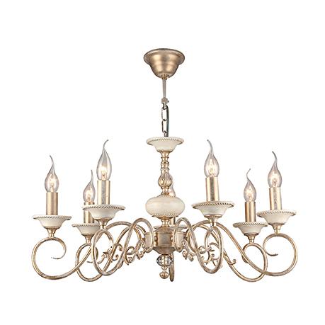 Elegant Perla 7: Подвесная люстра со свечами на 7 ламп (золото с белой патиной)