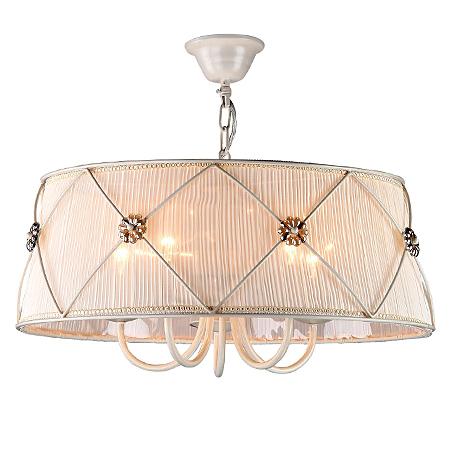 Подвесная люстра в абажуре из жатой ткани диаметр 55 см. (цвет жемчужный белый)