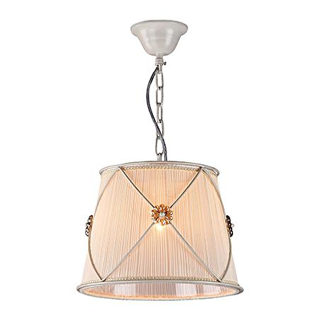 Подвесной светильник-абажур из жатой ткани диаметр 30 см. (цвет жемчужный белый)