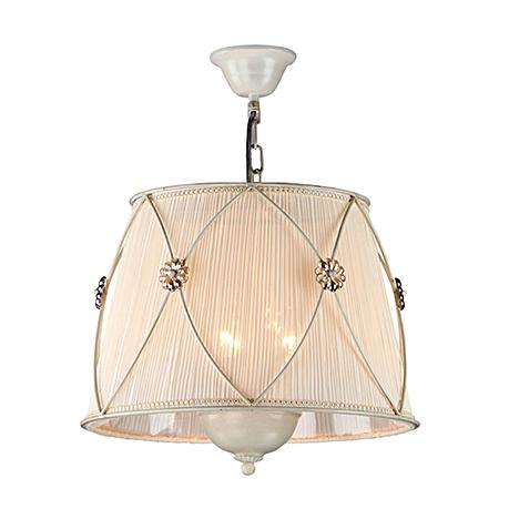 Подвесной светильник-абажур из жатой ткани диаметр 40 см. (цвет жемчужный белый)