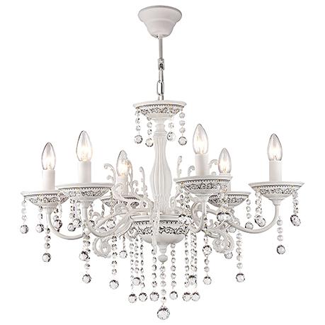 Elegant Bellona 6: Люстра со свечами на 6 ламп и хрусталем (цвет белый)