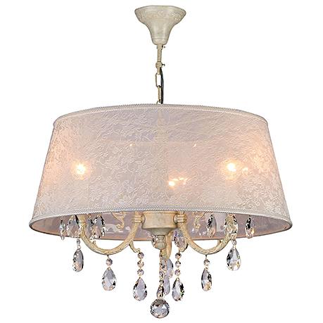Подвесная люстра на 3 лампы в абажуре из узорчатой ткани (цвет слоновая кость)