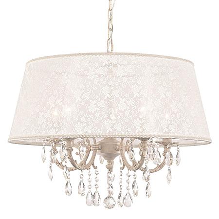 Подвесная люстра на 5-ть ламп в абажуре из узорчатой ткани (цвет слоновая кость)
