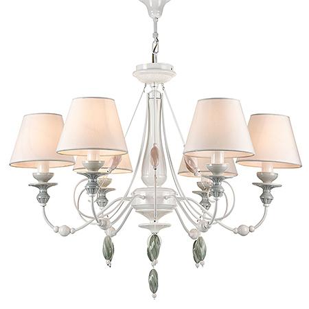 Люстра на 6 ламп с абажурами и керамическими подвесками (цвет жемчужный белый)
