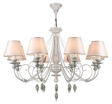 Люстра на 8 ламп с абажурами и керамическими подвесками (цвет жемчужный белый)