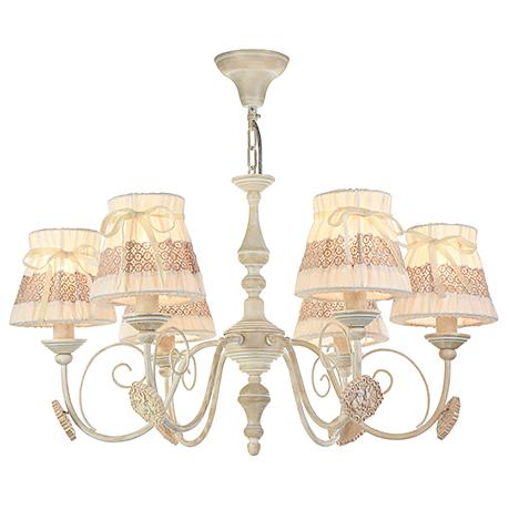 Люстра на 6 ламп с абажурами на резинке (цвет кремовый с золотом)