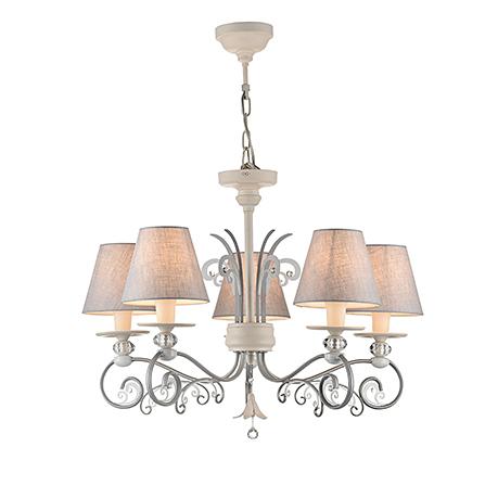 Люстра с абажурами на 5 ламп (цвет серый и бежевый)