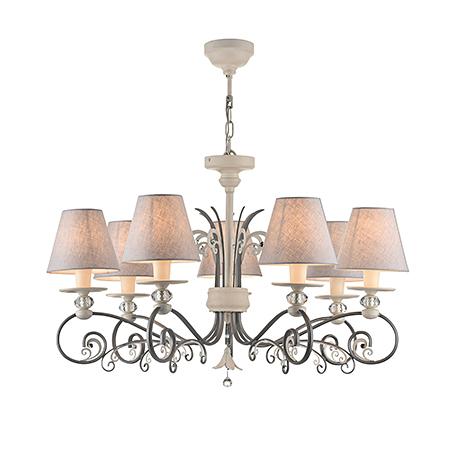 Люстра с абажурами на 7 ламп (цвет серый и бежевый)