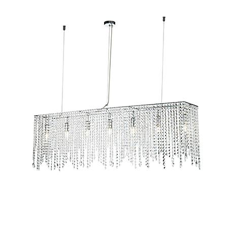 Diamant Crystal Empress 7: Подвесной прямоугольный светильник хрустальный водопад L=120 см. (хром)