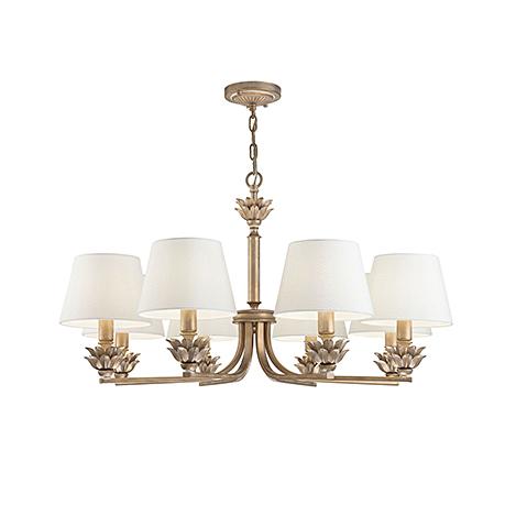 Люстра с абажурами в стиле неоклассика на 8 ламп (античное золото и белый)