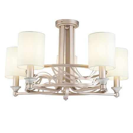 Люстра с абажурами в стиле ар-деко на 5 ламп (цвет кремовый с золотом)