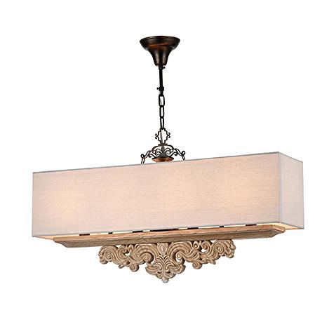 Подвесной светильник-абажур прямоугольной формы (цвет бежевый)