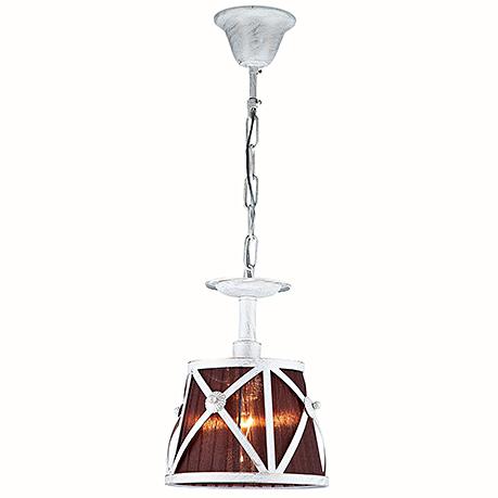 Подвесной светильник-абажур в кантри стиле (цвет белый и коричневый)