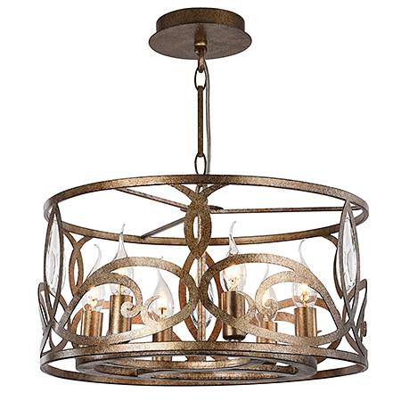 Подвесной светильник-абажур из металла в стиле ар-деко (античное золото)
