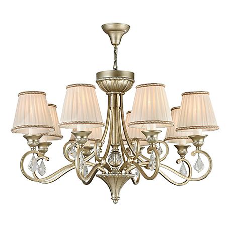Люстра с плиссированными абажурами на 8 ламп (цвет золотое серебро и белый)