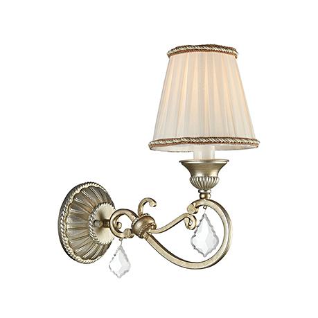 Бра с текстильным плиссированным абажуром (цвет золотое серебро и белый)