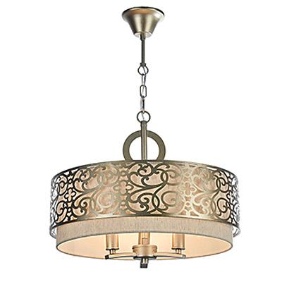 Подвесной абажур с люстрой внутри на 3 лампы, стиль ар-деко (латунь)