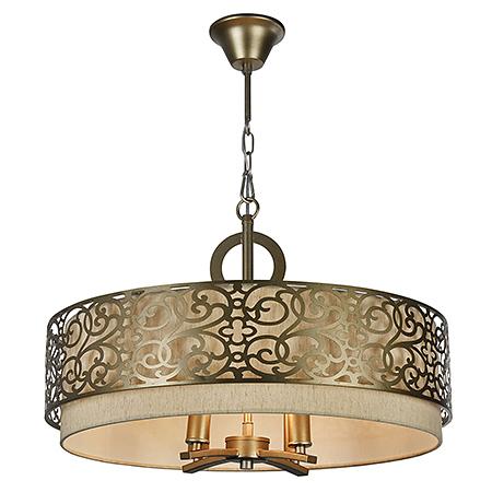 Подвесной абажур с люстрой внутри на 4 лампы, стиль ар-деко (латунь)