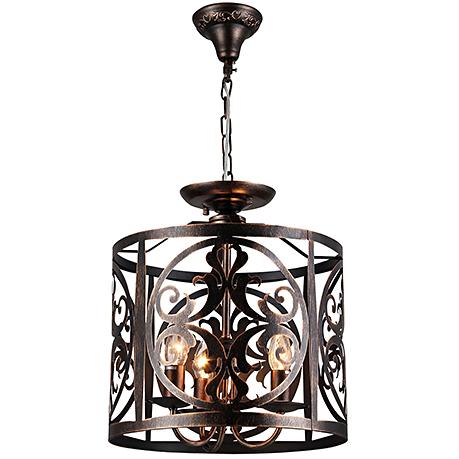 Подвесной абажур из металла под ковку диаметром 36 см. (цвет коричневый)