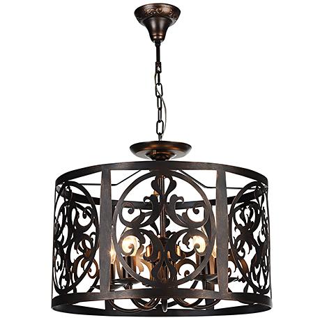 Подвесной абажур из металла под ковку диаметром 50 см. (цвет коричневый)