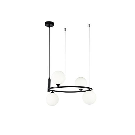 Подвесной светильник - обруч с шарами на тросах (цвет черный)